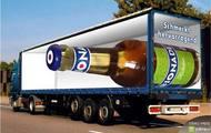 Złudzenia optyczne 3d - Ciężarówka z butelką