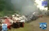 Czołg zniszczył 22 samochody